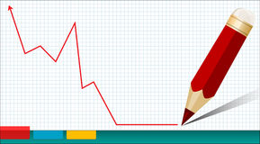 Graph. Business graph and red pencil on the background of notebook Royalty Free Stock Image