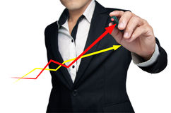 The graph. The graph shows the growth of the business Stock Image