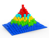Graph. Financial. Layered  pyramid chart . 3d render Stock Images
