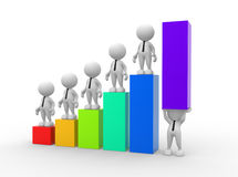 Graph. 3d people - man, person holding up a bar graph. Demonstrating success or achievement Royalty Free Stock Photo