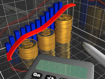 Graph. Business picture about analysis - graph, arrow and coins Royalty Free Stock Photos