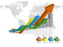 Graph 3d. Business Color Graph with arrow vector illustration