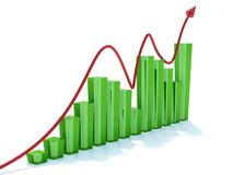 Graph. Blue graph an red arrow Royalty Free Stock Photo
