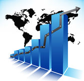 Graph. Illustration of graph with world map stock illustration
