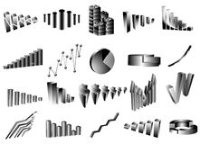 Graph. Illustration of graphs, black,white Stock Photos