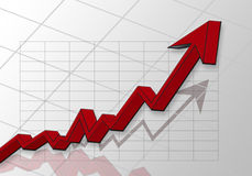 Graph. With red grow arrow Royalty Free Stock Photo
