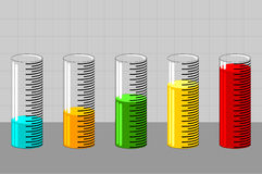 Graph 6. Test tubes with liquid in shape of graph stock illustration