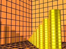 Graph. Business Graph With Gold Coins Showing Profits Stock Image