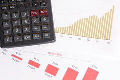 Graph. Business graph, calculator and pen Stock Images