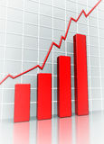 Graph. A business chart showing rise of the market Stock Images