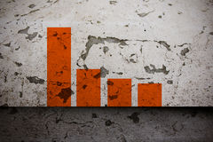 Graph on aged paint wall Royalty Free Stock Photography
