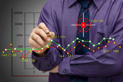 Graph analysis. Businessman analyze statistics on graph Royalty Free Stock Photography
