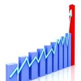 Graph at Angle Shows Budgeted Progress. Graph at Angle Showing Budgeted Progress Against Actual Increment Stock Photos