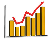The graph and arrow Stock Photo