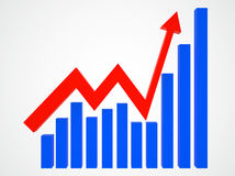 Graph. Arrow and columns. 3d illustration Royalty Free Stock Images