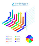 Graph Arrow ribbon 3D. Business element set can use for background and business concept Royalty Free Stock Photography