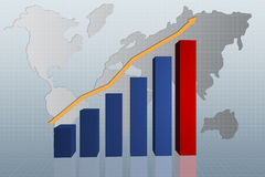 Graph with arrow up. On world map Royalty Free Stock Images