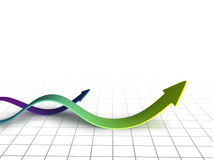 Graph arrows swirl. On white Stock Photos