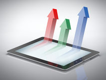 Graph with arrows on tablet Stock Image