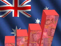 Graph with Australian flag. Bar chart and rippled Australian flag with currency illustration Stock Illustration