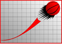 Graph and ball Royalty Free Stock Image