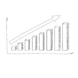 Graph Bar Hand Draw Icon Vector Royalty Free Stock Image