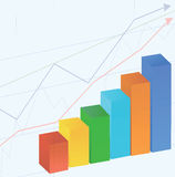 Graph bars with background of graph lines Royalty Free Stock Image