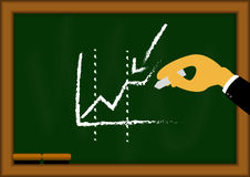 Graph on blackboard with business man hand Royalty Free Stock Photo