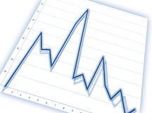 Graph. Blue graph on business chart Royalty Free Stock Photo