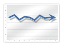 Graph. Blue graph on business chart Stock Image