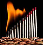 Graph of the burning matches Stock Image