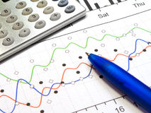 Graph and calculator Stock Images