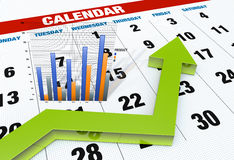 Graph with calendar Royalty Free Stock Photo