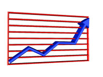 Graph chart. Blue arrow on red greed Royalty Free Stock Images