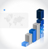 Graph chart background with a world map Stock Photo