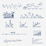 Graph, chart business finance statistics. Infographics doodle hand drawn elements Stock Photo