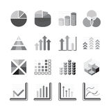 Graph chart Business and financial Icons set balck color. Vector. Illustration Stock Images