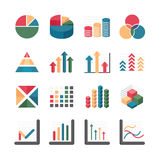 Graph chart Business and financial Icons set. Vector illustratio Royalty Free Stock Photography