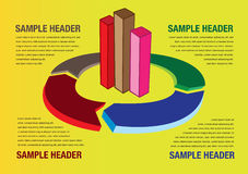 Graph and Chart Business Layout Background. Vector illustration of bar graph and pie chart with arrow head. Layout template for business presentation with copy Stock Photos