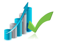 Graph chart and checkmark illustration Royalty Free Stock Image