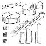 Graph and chart elements sketch Royalty Free Stock Photography