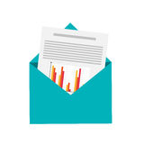 Graph chart and envelope icon Stock Images