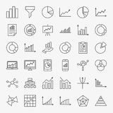 Graph Chart Line Icons. Vector Set of Outline Business Diagram Symbols Stock Photography