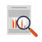 Graph chart and magnifying glass icon. Flat design graph chart and magnifying glass icon vector illustration Royalty Free Stock Images