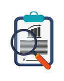 Graph chart and magnifying glass icon Royalty Free Stock Photos