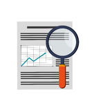 Graph chart and magnifying glass icon. Flat design graph chart and magnifying glass icon vector illustration Stock Image