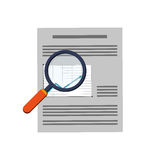 Graph chart and magnifying glass icon. Flat design graph chart and magnifying glass icon vector illustration Royalty Free Stock Photos
