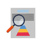 Graph chart and magnifying glass icon Stock Image