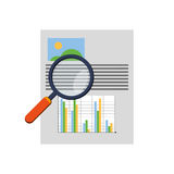 Graph chart and magnifying glass icon. Flat design graph chart and magnifying glass icon vector illustration Stock Photography