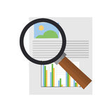 Graph chart and  magnifying glass icon. Flat design graph chart and  magnifying glass icon vector illustration Royalty Free Stock Photo